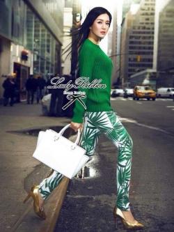 Lady Ribbon Green Knit Leaf Print Set เซ็ตเสื้อพร้อมกางเกง