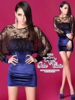 Sexy Blue Dress เดรสเกาะอกเนื้อผ้ากำมะหยี่ พร้อมเสื้อคลุมตาข่ายซีทรู
