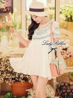 Lady Ribbon Blue Blossom Embroidery Dress เดรสปักดอกไม้สีฟ้า