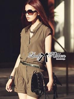 Lady Ribbon Urban Brown Playsuit จั้มสูทขาสั้นสีน้ำตาล