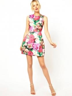ASOS/GANLAN เดรสสั้น ผ้าพิมพ์ลายดอก สีสดใส ไซส์ S M L