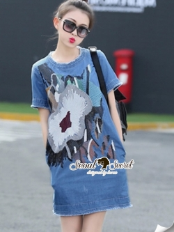 Seoul Secret Glitter Blossom Denim Dress