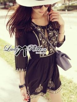 Lady Ribbon Black Bohemian Dress Gold Deco
