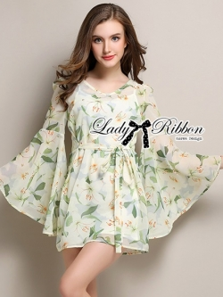Lady Ribbon Floral Printed Flared Sleeve Chiffon Mini Dress