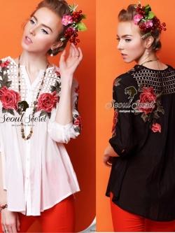 Seoul Secret Red Rosy Embroider Mini Dress