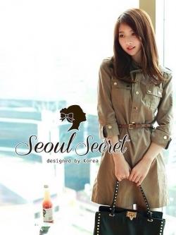 Seoul Secret เดรสเชิ้ตแขนสี่ส่วน แภมเข็มขัดหนัง
