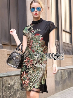 Lady Ribbon Dress เดรสคอเต่าปักลายนกยูง