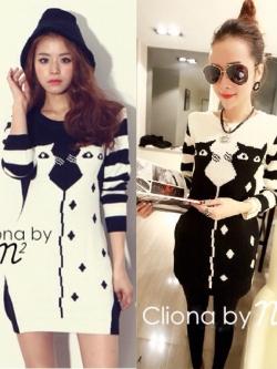 Cliona By N2 Twin Cat Knitting Dress มินิเดรสไหมพรม ทอลายแมว
