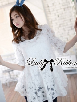 Lady Ribbon Floral Embroidered Layer Tulle Blouse in White