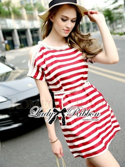 Lady Ribbon Pearl Embellished Stripped Red Dress