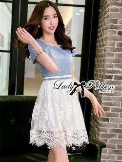 Lady Ribbon Twist Denim and Lace Dress with Belt