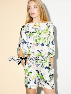 Lady Ribbon Tropical Colourful Printed Jumpsuit