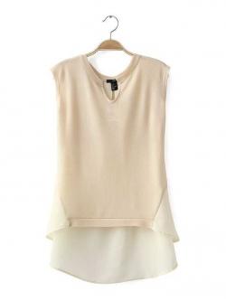H&M เสื้อ ผ้านิตติ้ง ต่อผ้าชีฟอง สีครีม