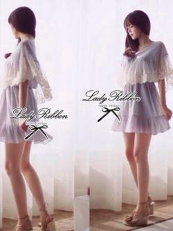 Lady Ribbon มินิเดรสผ้าป่านสีเทา ปักลูกไม้สีขาว เอวยางยืด