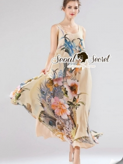 Seoul Secret Vintage Chiffon Maxi Dress