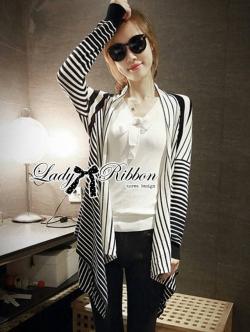 Lady Ribbon Cardigan เสื้อคลุมคาร์ดิแกนพิมพ์ลายทางสลับ
