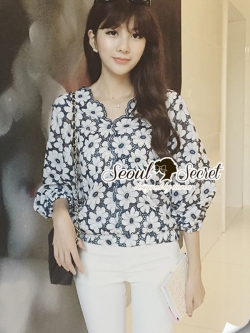 Seoul Secret Navy Daisy Perforate Blouse
