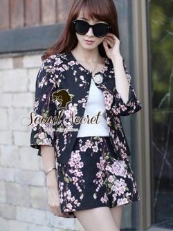 Seoul Secret Sakura Outer Set ชุดเสื้อคลุม กางเกงลายดอกซากุระ แถมเข็มกลัด