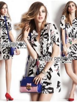 Lady Ribbon Shirt Dress เชิ้ตเดรสพิมพ์ลายดอกชบา