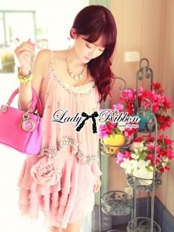Lady Ribbon Elegant Crystal Embellish Dress