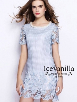 Icevanilla Luxury Crochet Pearl&Beaded Stitch Dress