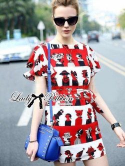 Lady Ribbon Lady Olive Playful Graphic Print Mini Dress