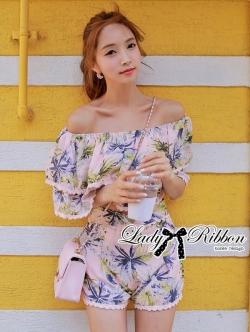 Lady Ribbon ชุดเซ็ทเสื้อเปิดไหล่และกางเกงเอวสูง สีชมพู สีฟ้า