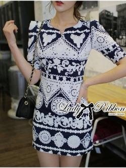 Lady Ribbon Mixed Print Mini Dress เดรสพิมพ์ลายวินเทจ สีกรมท่า