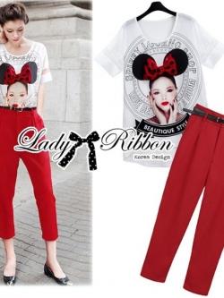 Lady Ribbon Girl Printed Top and Red Pants Set