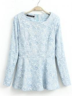 Dream Rozner เสื้อตัวยาวสีฟ้า ผ้าฝ้ายปักไหมพรม ลายดอกไม้