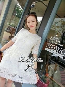 Lady Ribbon Lace Embroidery Dress เดรสลูกไม้ฉลุ ผ้าซีทรู