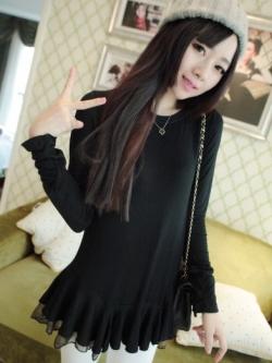 เสื้อตัวยาว ผ้าฝ้ายเนื้อผสม แต่งระบายผ้าชีฟองช่วงชายเสื้อ สีดำ