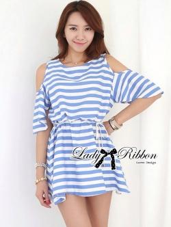 Lady Ribbon Striped Cut-Out Dress เดรสลายทางตัดแต่งช่วงไหล่ 2 สี