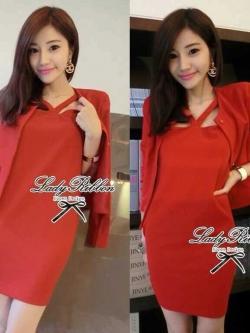 Lady Ribbon Mini Dress Outer Set เซ็ตเสื้อนอก-มินิเดรส 4 สี