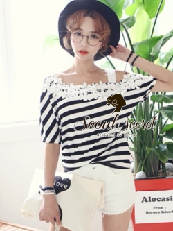 Seoul Secret Cool Stripy Top Shoulder Oblique Lace