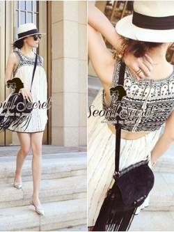 Seoul Secret Black Tone Embroidered Breast Luxury Dress