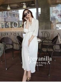 Icevanilla White Luxury Korea Chiffon Dress