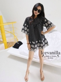 Icevanilla Black Dots Embroidery Mini Dress