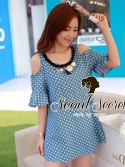 Seoul Secret เดรสผ้าฝ้ายสีฟ้า พิมพ์ลายจุด เว้าไหล่ แต่งระบายที่แขน
