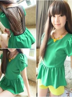 เสื้อ ผ้าชีฟองสีเขียว ด้านหลังตัดต่อผ้าตาข่ายเก๋ๆ