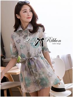 Lady Ribbon Floral Printed Cotton Silk Shirt Dress in Blue