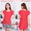 BD8201red ชุดเดรสผ้าชีฟองไซส์ใหญ่ สีแดง รอบอก 44 นิ้ว thumbnail 1