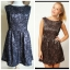 Topshop Glamorous Black Gold Skater Dress Size uk10 thumbnail 1