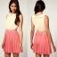 Topshop Rare Two Tone Chiffon Pleat Dress Size uk12 thumbnail 4