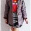 ((ขายแล้วครับ))ca-2824 เสื้อโค้ทกันหนาวผ้าร่มสีเทาเหลีอบแดง รอบอก37 thumbnail 3