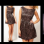 Topshop Glamorous Black Gold Skater Dress Size uk10 thumbnail 2