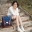 """กระเป๋าเป้สะพาย ยี่ห้อ Superlover สไตส์ญี่ปุ่น มีช่องใส่ Notebook14"""" สีน้ำเงินดอกไม้ (Pre-Order) ใบเล็ก thumbnail 6"""
