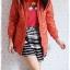 ((ขายแล้วครับ))ca-2827 เสื้อโค้ทกันหนาวผ้าร่มสีส้ม รอบอก38 thumbnail 3